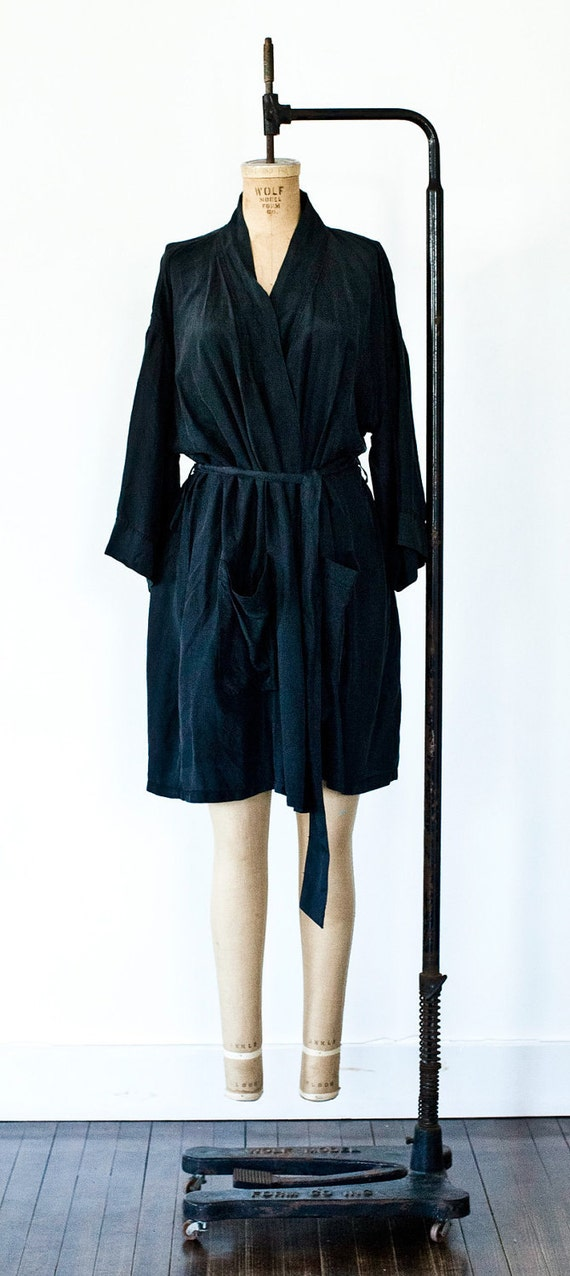 Vintage Black Silk Kimono Robe O/S