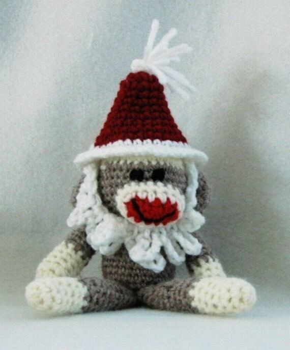 Amigurumi Crochet Sock Monkey : PDF Santa Sock Monkey Amigurumi Crochet Pattern by ...