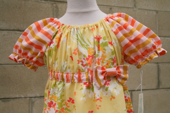 SALE Tea Dress, girl size 8 or 9, Vintage Yellow Floral fabric