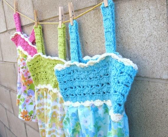 Blue Sun Dress, SALE, girls size 8, Vintage Blue Floral Fabric