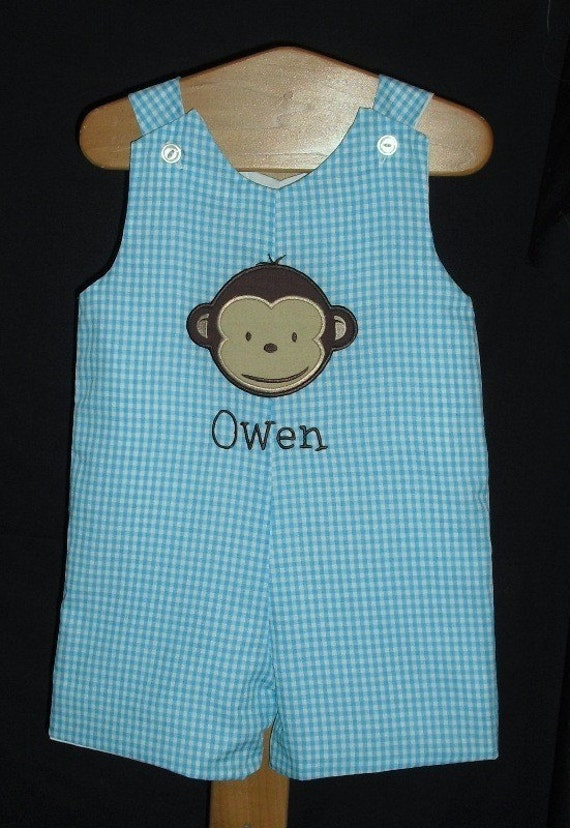 Turquoise Blue Gingham Jon Jon with Monkey Applique and Monogram 3M, 6M, 9M, 12M, 18M, 24M/2T, 3T, 4T