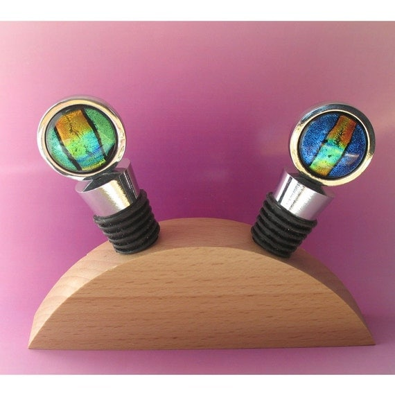 Primary Stripe -  Bottle Stopper Set with Free Wood Display Stand