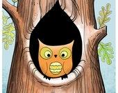 Owls Tree Print