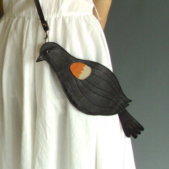 Leather Red Winged Blackbird Bag Clutch