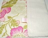 Pink Poppies Lovey Security Blanket backed with Organic Cotton Sherpa Fleece