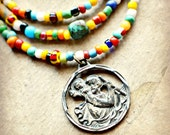 GYPSY SUMMER ... talula  ...  Americana  ...   Protect Us  ...Urban Tribal Gypsy Unisex Saint Christopher Medal and Trade Bead Necklace