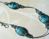 Stratosphere Blue Striated Oval Czech Glass Ankle Bracelet