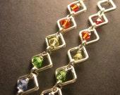 Chakra Pride Silver Diamond Swarovski Crystal Earrings