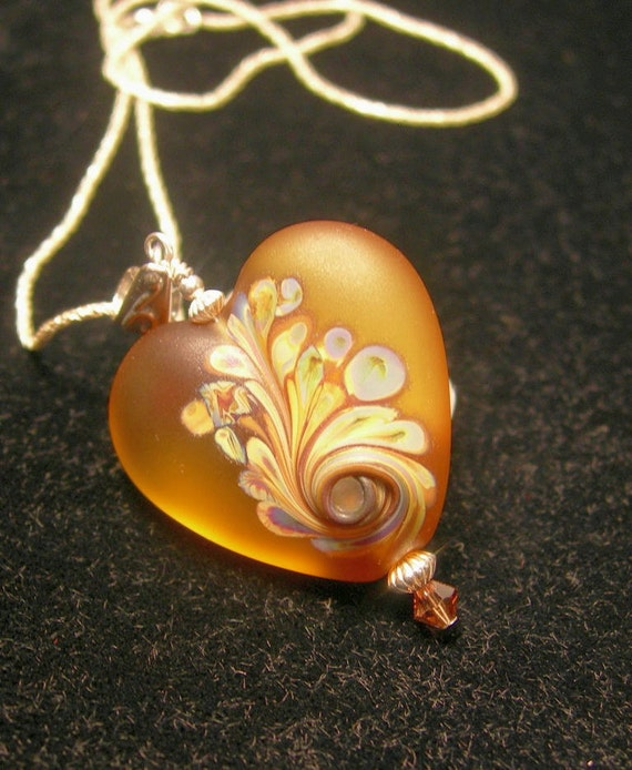 The Warmth Within Handmade Lampwork Glass Heart Pendant Necklace