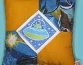 Nifty Space Alien UFO Pillow Made With Recycled Star Wars Fabric