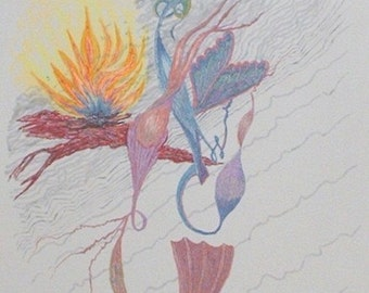 Pen and Ink 10, Flame and Wings