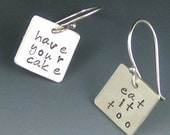 Word Play Have Your Cake and Eat it Too earrings in recycled sterling silver