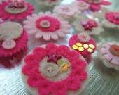 Felt Flower Embellishments - Summer Fruit Crumble mix - Pink, Baby Pink and Oatmeal - Mix 1