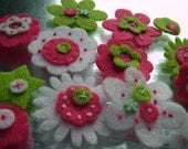 Summer Time Mix of Lime, White and Pink felt flowers
