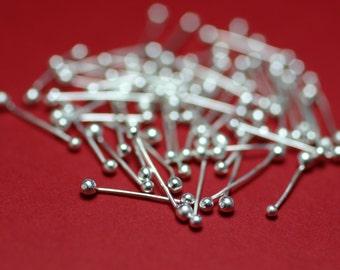 FSDH50/.5-  Fine Silver Double Headpins 50ct .5 inch - Handmade