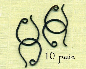 CEWRO10-  Copper Earwires Oxidized 10pair 16-20mm- Handmade