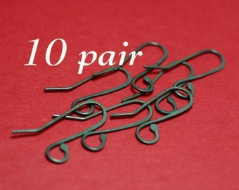 SEWO10- Oxidized  Sterling Earwires 10pr