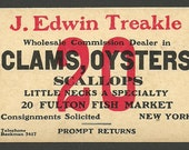 Clams Oysters NY Fulton Market New York Advertising Card Clams Oysters Scallops J. Edwin Treakle Seafood Trade Card Paperink Graphics