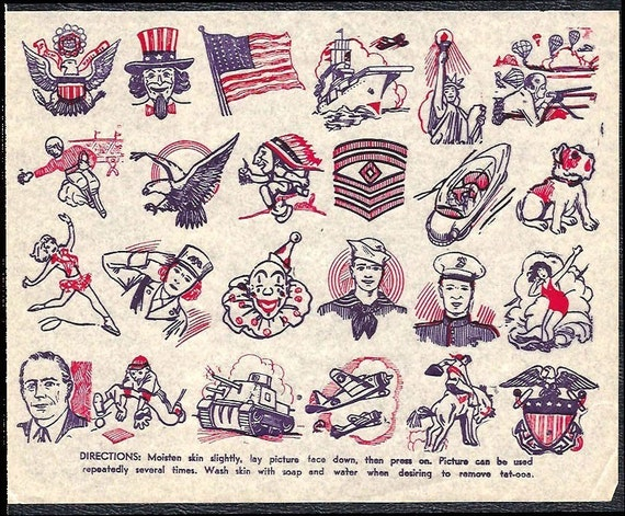 1940s TATTOOS Sheet  WWII era Uncle Sam Flag Eagle Plane Military Soldiers