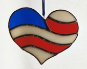 Stained Glass American Flag Heart-Charity Donation