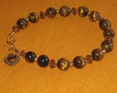 Gold Tiger-Eye and Crystal Bracelet - FREE SHIPPING