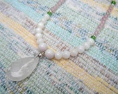 Rose Quartz and Mother of Pearl Long Necklace-FREE SHIPPING