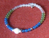 Blue, White and Green Gem Wrap Bracelet - FREE SHIPPING