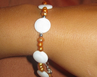 Peach Freshwater Pearl Bracelet Bracelet - FREE SHIPPING