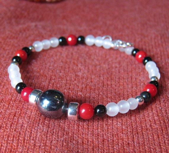 Black Onyx, Red and White Gem Wrap Bracelet - FREE SHIPPING