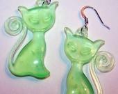 Eerie Green Glow Retro Kitty Kat Earrings