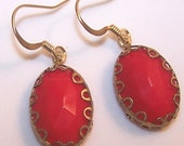 Antique Gold and Glass Red Drop Earrings