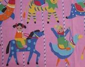 Vintage childrens fabric - kids in merry-go-round
