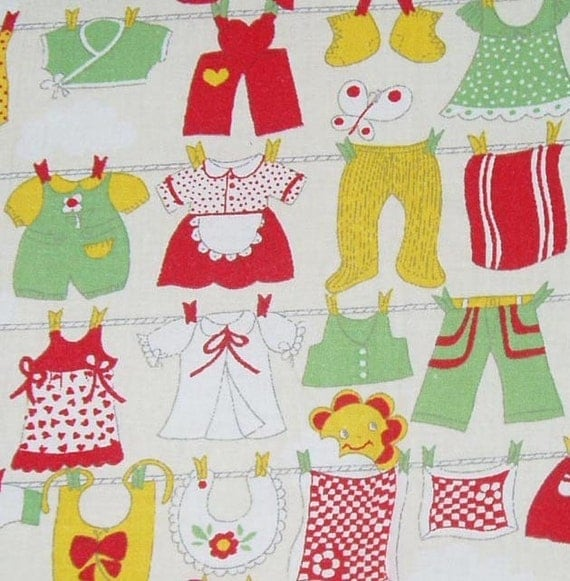 Vintage childrens laundry theme fabric for Vintage childrens fabric