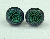 dichroic  glass ear studs with sterling silver ear posts