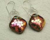 Dichroic glass earrings with sterling silver earhooks