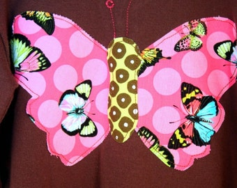 Papillion tshirt Butterfly tshirt Size 3T - Long Sleeve - Ready to Ship