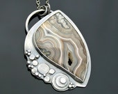 Mexican Crazy Lace Agate and Oxidized Silver Necklace