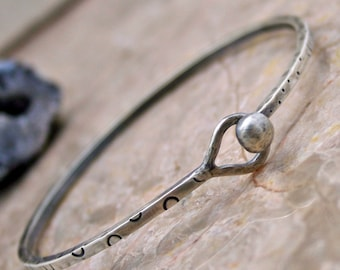 Fun Sterling Silver Bracelet Stamped Bangle
