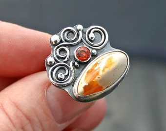 Mexican Opal, Orange Sapphire and Oxidized Silver Ring