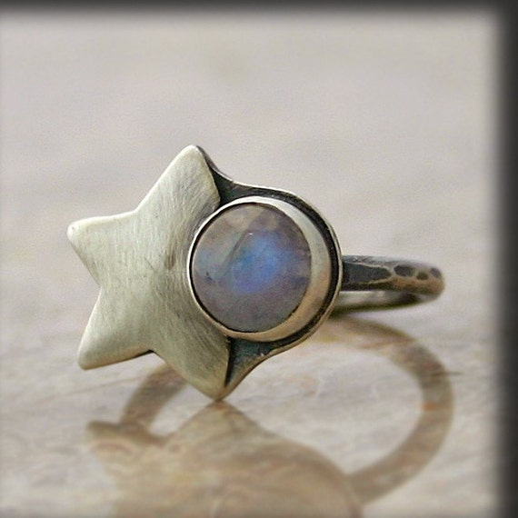 moonstone rings with stars - photo #28