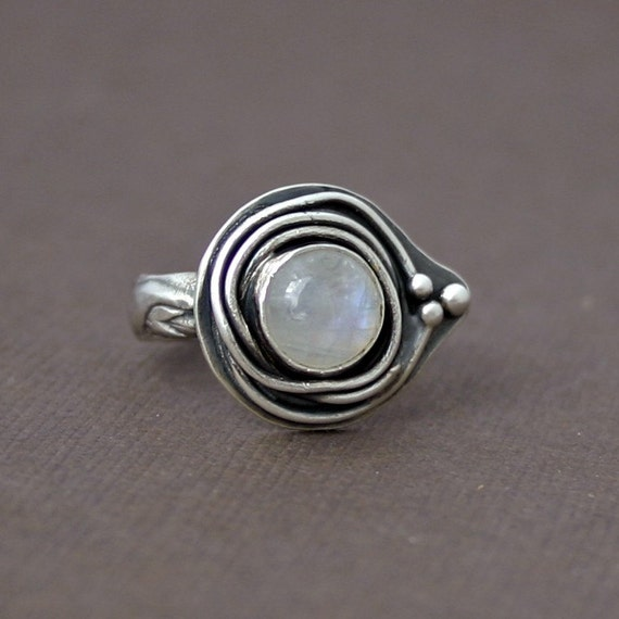 RESERVED LISTING....Moonstone and Oxidized Silver Nebula Ring