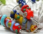SALE COLOR BLAST Barrels Handmade Lampwork Bead Necklace