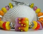 SHERBET Handmade Lampwork Bead Bracelet