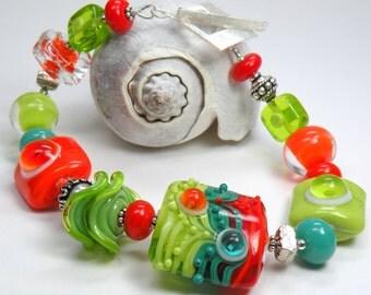 SALE RADIOACTIVE Handmade Lampwork Bead Bracelet