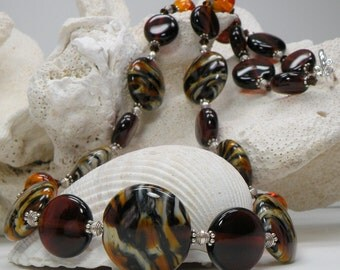 SALE Tiger Handmade Lampwork Bead Necklace with FREE EARRINGS