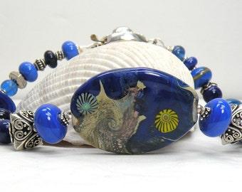 SALE MOONSCAPE Handmade Lampwork Bead Bracelet