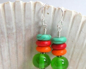 FRUIT SALAD Dangle Earrings Lampwork