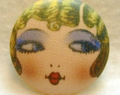 Flapper Button GOLDIE - Hand Printed Fabric 1 and 1 eighth inch