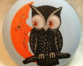 Owl and Moon Face Hand Printed Fabric Covered Button 1 and 1/2 inch Diameter