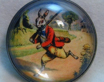 Rabbit Doing the Hunting Crystal Dome Button 1 and 3/8 inch Diameter